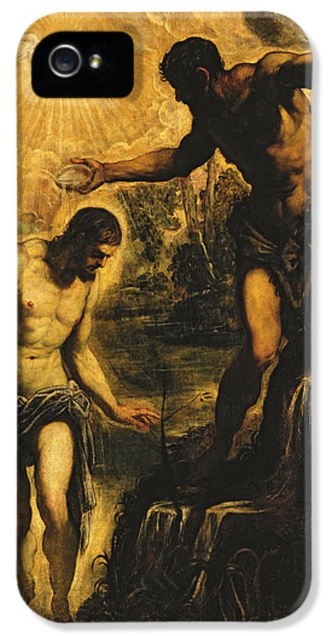 John The Baptist IPhone 5 Case featuring the painting The Baptism Of Christ by Jacopo Robusti Tintoretto