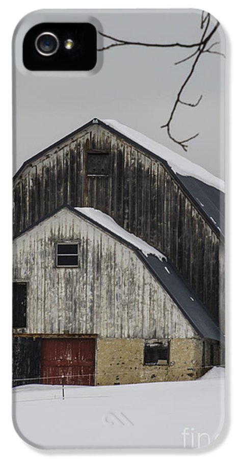 Weathered Barn With Red Door In Snow IPhone 5 Case featuring the photograph The Barn With A Red Door by Deborah Smolinske