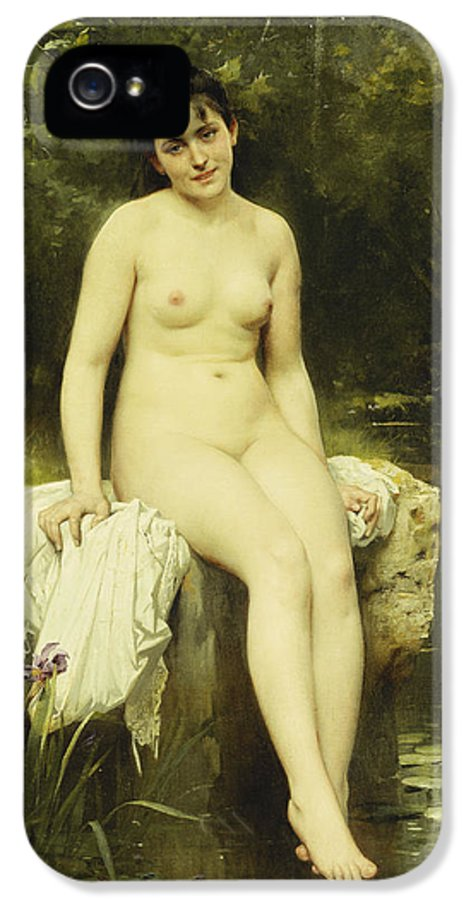 Academic IPhone 5 Case featuring the painting The Bather by Leon Bazile Perrault