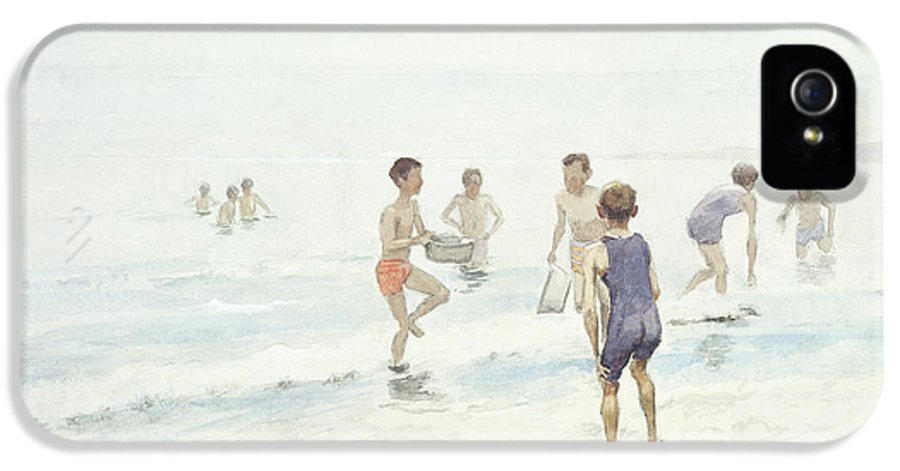 Male IPhone 5 Case featuring the painting The Bathers by Edward van Goethem