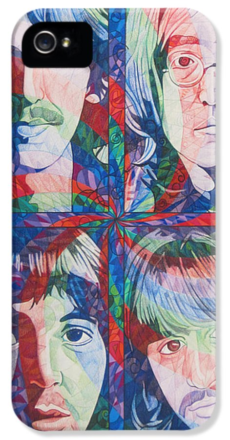 The Beatles IPhone 5 Case featuring the drawing The Beatles Squared by Joshua Morton
