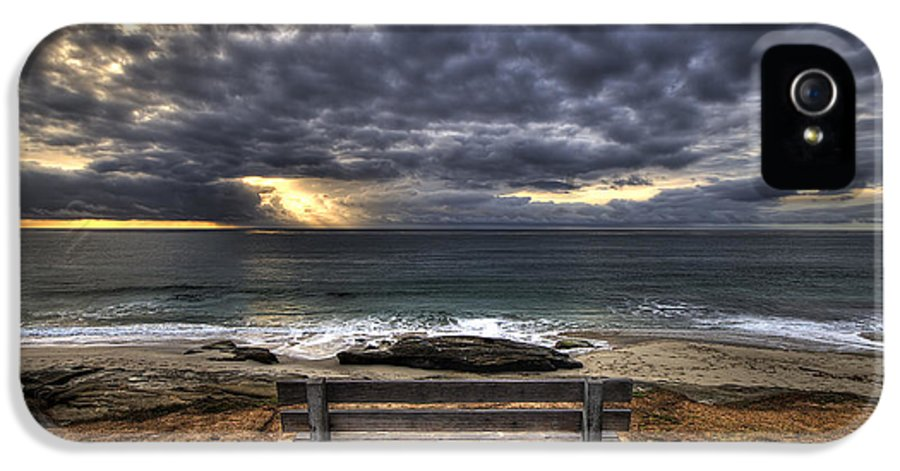 Ocean IPhone 5 Case featuring the photograph The Bench by Peter Tellone