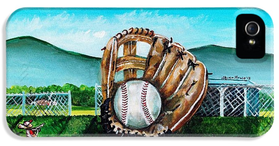 Baseball IPhone 5 Case featuring the painting The Big Leagues by Shana Rowe Jackson