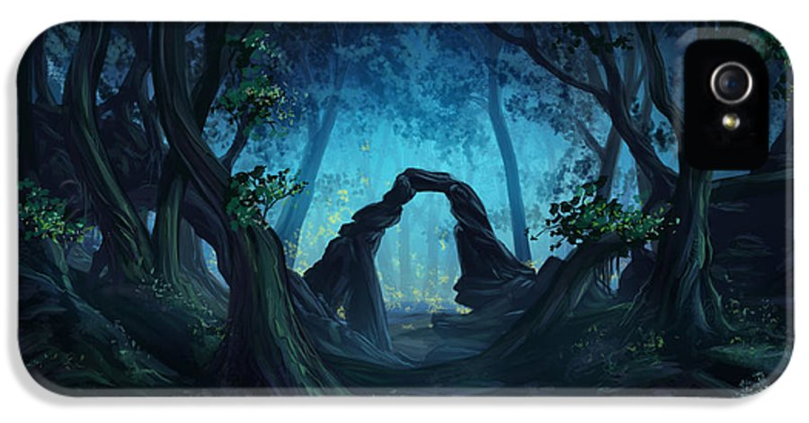 Fantasy IPhone 5 Case featuring the digital art The Blue Forest by Cassiopeia Art