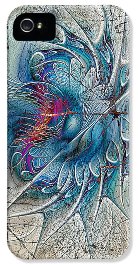 Abstract. Digital Abstract IPhone 5 Case featuring the digital art The Blue Mirage by Deborah Benoit