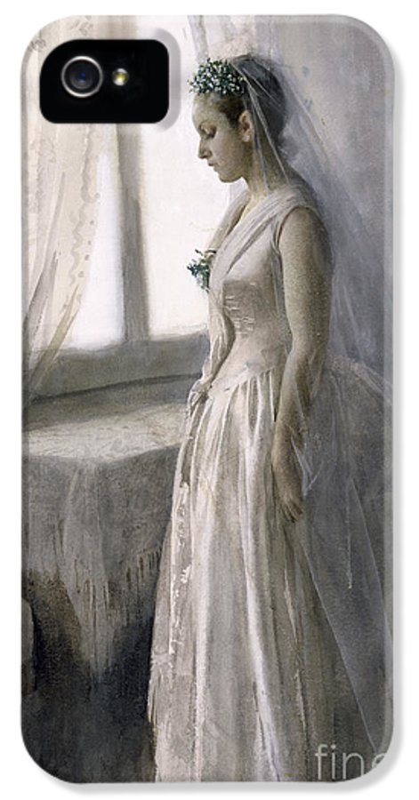 Female IPhone 5 Case featuring the painting The Bride by Anders Leonard Zorn