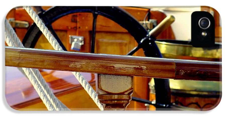 Nautical IPhone 5 Case featuring the photograph The Captain's Wheel by Karen Wiles
