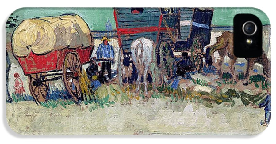 Post-impressionist IPhone 5 Case featuring the painting The Caravans  Gypsy Encampment Near Arles by Vincent Van Gogh