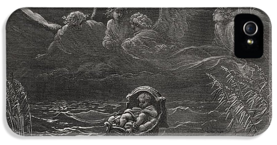 Baby IPhone 5 Case featuring the painting The Child Moses On The Nile by Gustave Dore
