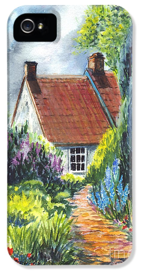 Watercolor IPhone 5 Case featuring the painting The Cottage Garden Path by Carol Wisniewski