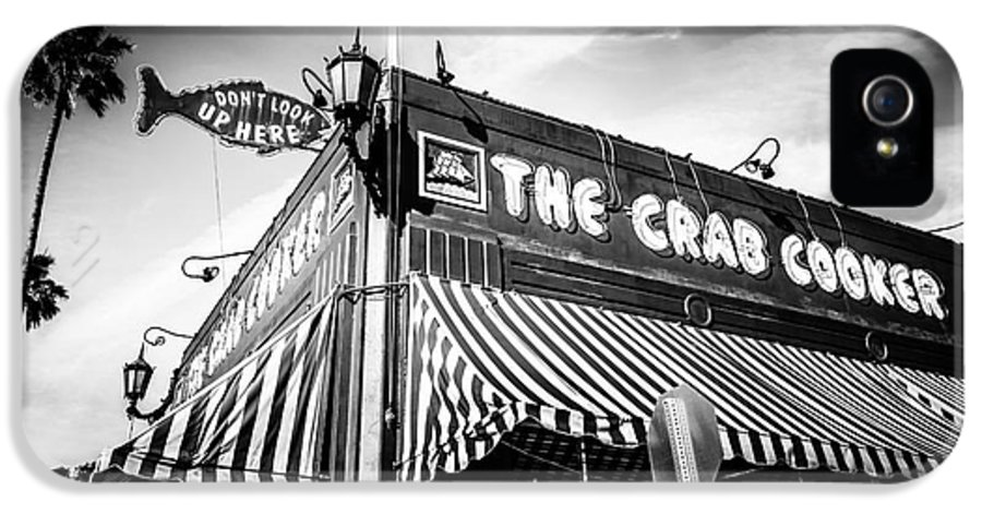 America IPhone 5 Case featuring the photograph The Crab Cooker Newport Beach Black And White Photo by Paul Velgos