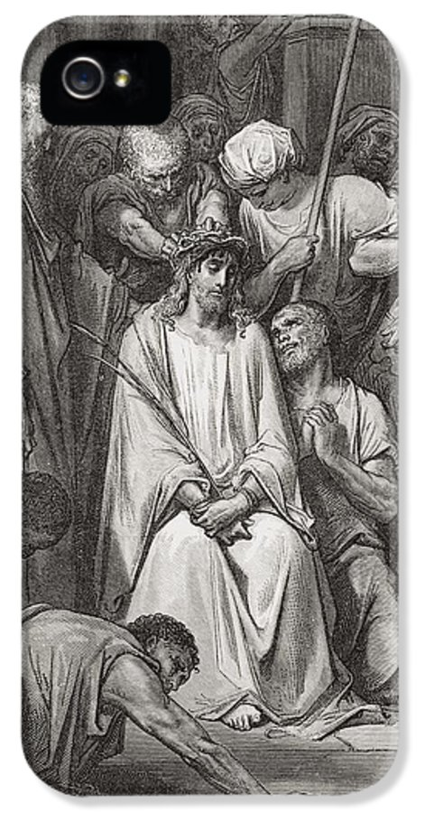 Jesus Christ IPhone 5 Case featuring the painting The Crown Of Thorns by Gustave Dore