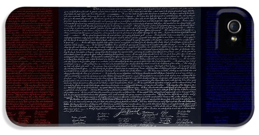 The Declaration Of Independence IPhone 5 Case featuring the photograph The Declaration Of Independence In Negative Red White And Blue by Rob Hans