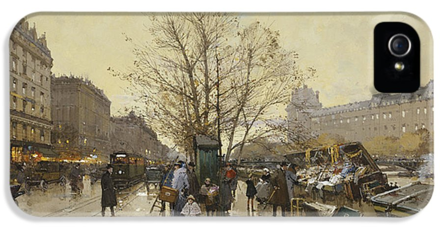 19th Century IPhone 5 / 5s Case featuring the painting The Docks Of Paris Les Quais A Paris by Eugene Galien-Laloue