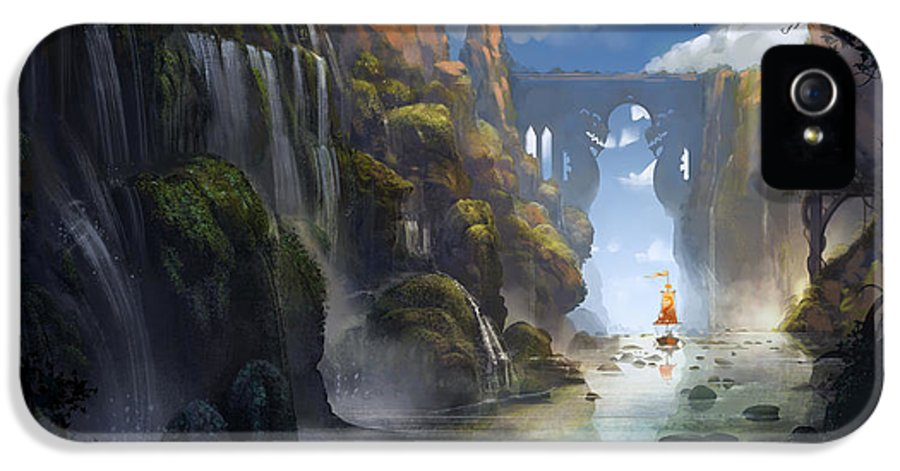 Landscape IPhone 5 Case featuring the painting The Dragon Land by Kristina Vardazaryan
