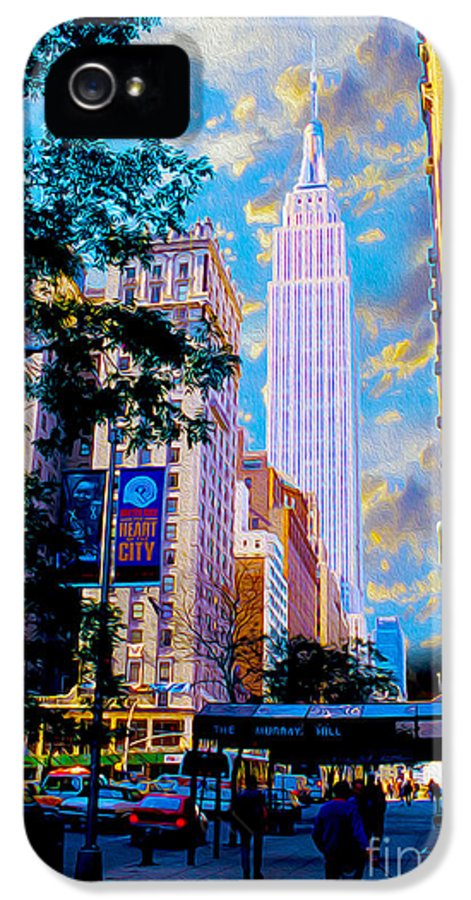 Empire State Building Canvas Prints IPhone 5 Case featuring the mixed media The Empire State Building by Jon Neidert
