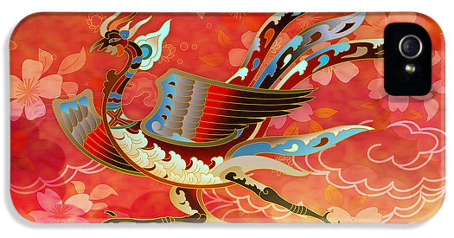 Bird IPhone 5 Case featuring the digital art The Empress - Flight Of Phoenix - Red Version by Bedros Awak