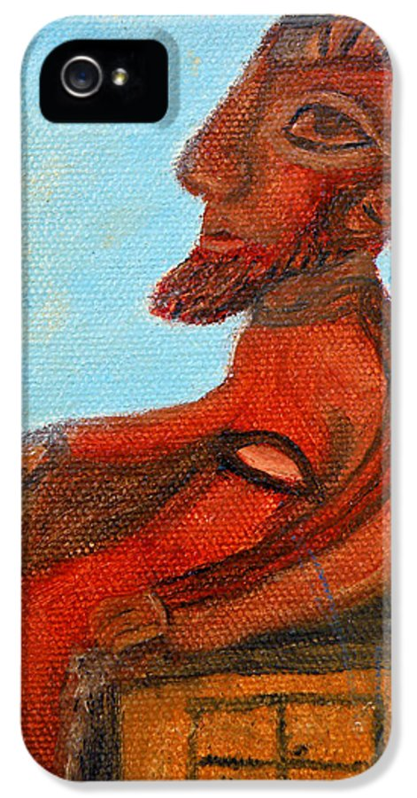 Cyprus IPhone 5 Case featuring the painting The Enthroned God Ares by Augusta Stylianou