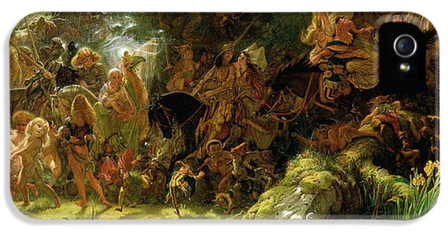 Fairy IPhone 5 Case featuring the painting The Fairy Raid by Sir Joseph Noel Paton