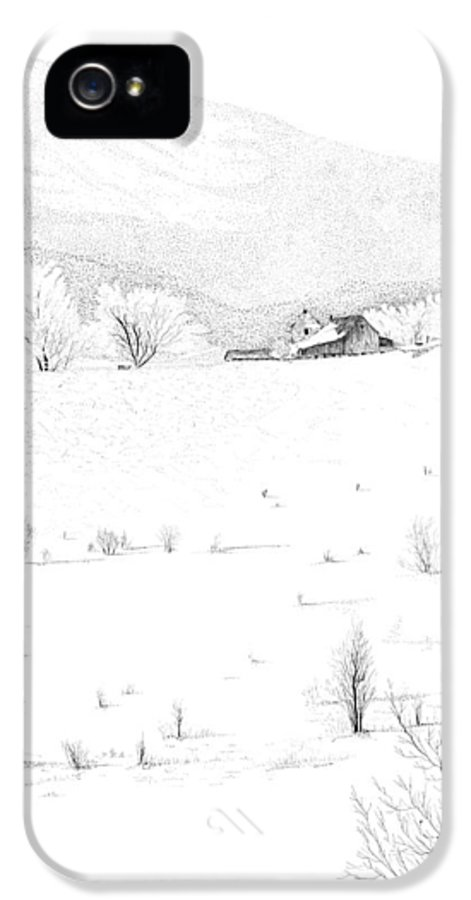 Barn Print IPhone 5 Case featuring the drawing The Farm by Carl Genovese