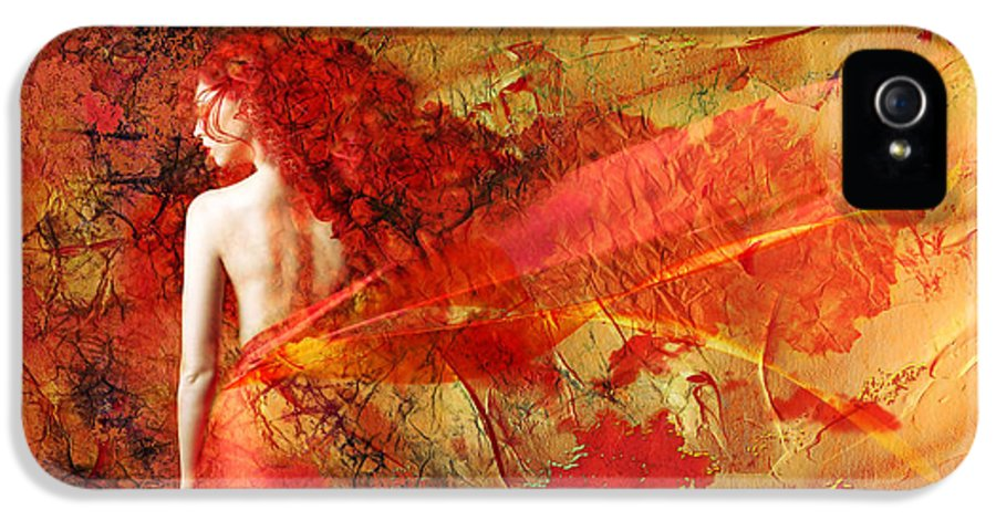 Art IPhone 5 Case featuring the painting The Fire Within by Jacky Gerritsen