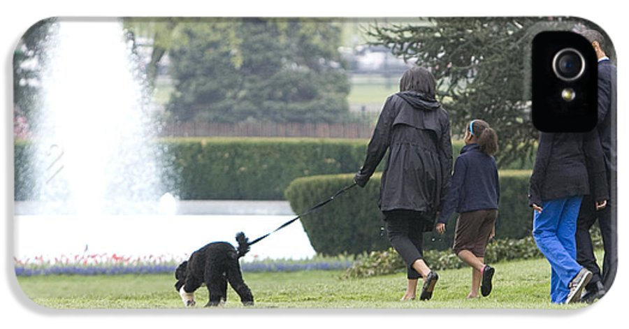 South Lawn IPhone 5 Case featuring the photograph The First Family And Bo by JP Tripp