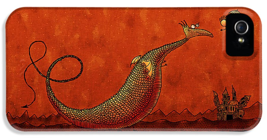 Abstract IPhone 5 Case featuring the drawing The Friendly Dragon by Gianfranco Weiss