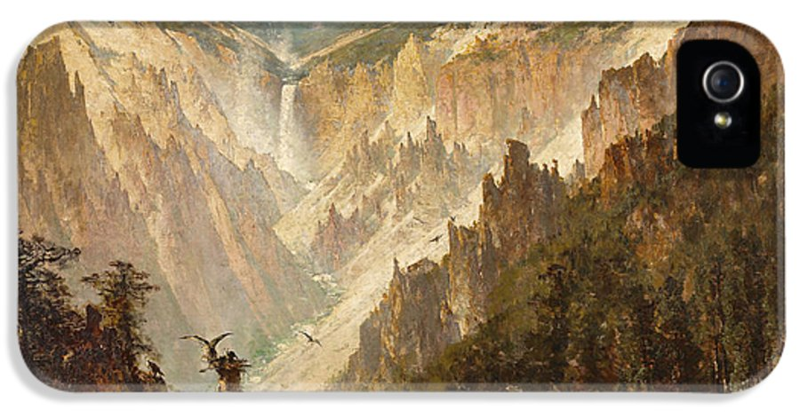 Land IPhone 5 Case featuring the painting The Grand Canyon Of The Yellowstone by Thomas Hill
