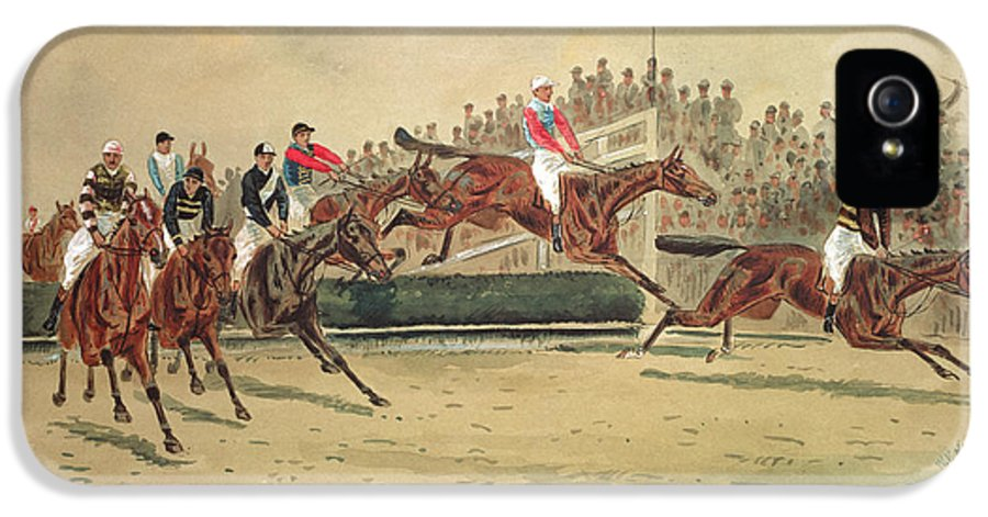 Crt IPhone 5 Case featuring the painting The Grand National Over The Water by William Verner Longe