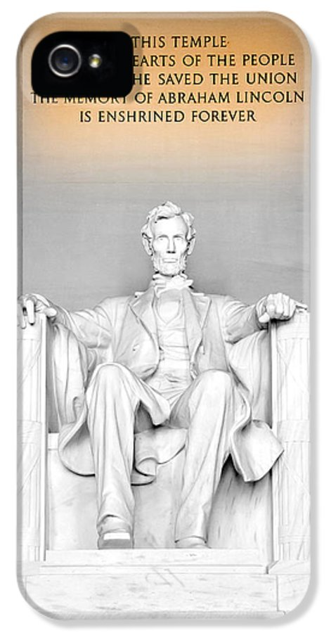 Lincoln Memorial IPhone 5 Case featuring the photograph The Great Emancipator by Greg Fortier