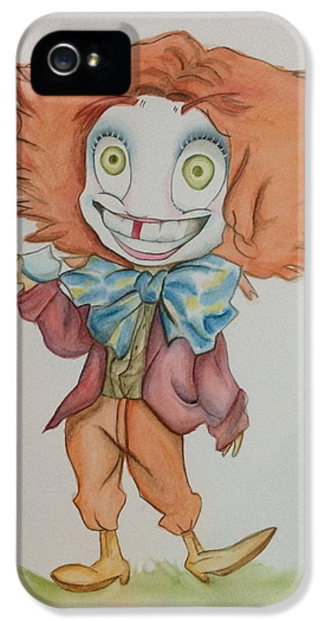 Mad Hatter Alice In Wonderland IPhone 5 Case featuring the painting The Hatter Is Mad by Nico Bress