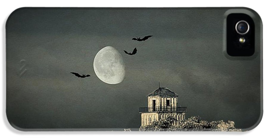 House IPhone 5 Case featuring the mixed media The Haunted House by Heike Hultsch