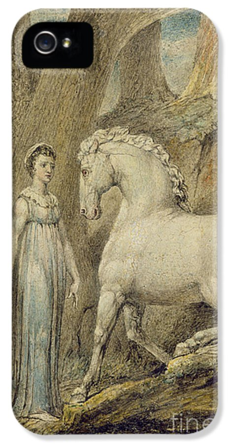 Woodland IPhone 5 Case featuring the painting The Horse by William Blake