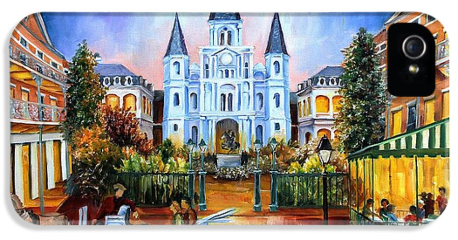 New Orleans IPhone 5 Case featuring the painting The Hours On Jackson Square by Diane Millsap