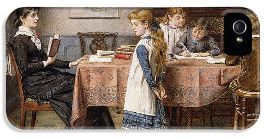 Artwork; Attire; Blond; Books; Boy; British Artist; Brother; Clothing; Decor; Drawing; Dress; Education; Ethnic Origin; European Artist; Fair; Family; Female; Furniture; George Goodwin Kilburne; Girl; Group; Hair; Hands Behind Back; Human; Indoor; Kilburne; Late 19th Century; Learning; Lesson; Male; Nineteenth Century; Painting; Pencil; People; Posture; Room; Seat; Sibling; Sister; Sitting; Sisters; Table; Teacher; Tutor; Victorian Art; Water Color; IPhone 5 Case featuring the painting The Lesson by George Goodwin Kilburne