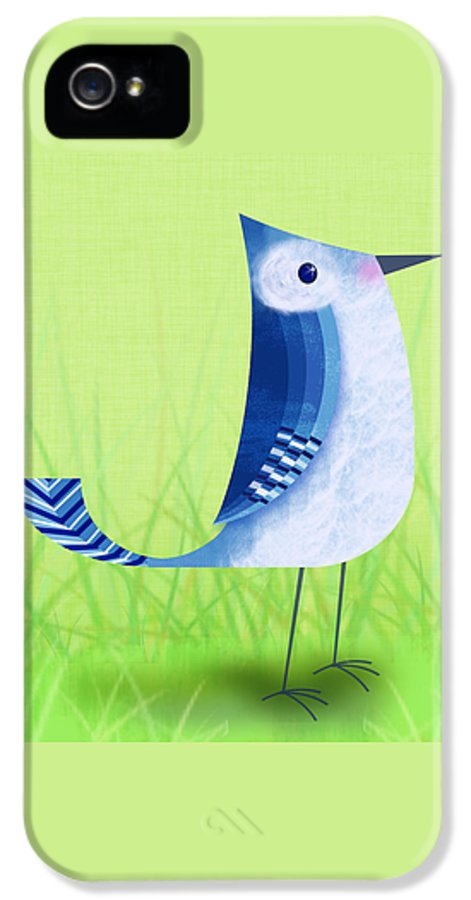 Bird IPhone 5 Case featuring the digital art The Letter Blue J by Valerie Drake Lesiak