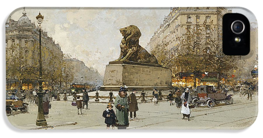 19th Century IPhone 5 Case featuring the painting The Lion Of Belfort Le Lion De Belfort by Eugene Galien-Laloue