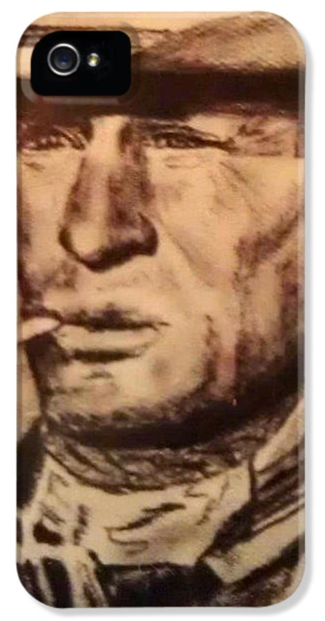 Cowboy IPhone 5 Case featuring the drawing The Loner by Kathy Stiber