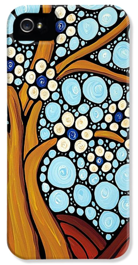 Flower IPhone 5 Case featuring the painting The Loving Tree by Sharon Cummings