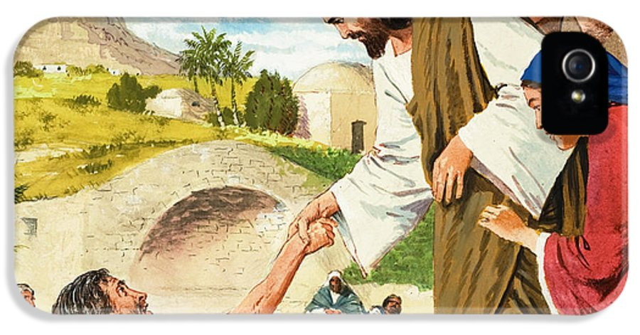 Son Of God IPhone 5 Case featuring the painting The Miracles Of Jesus Making The Lame Man Walk by Clive Uptton