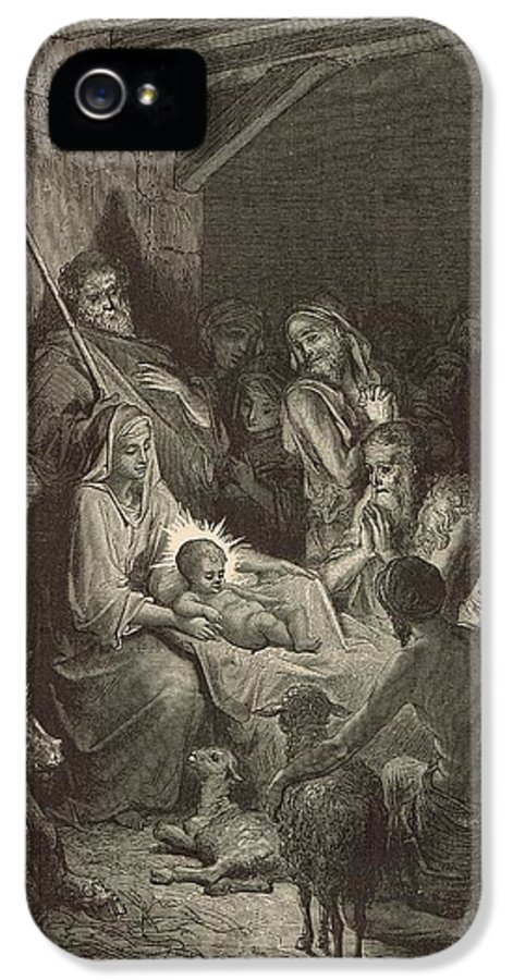 Biblical IPhone 5 / 5s Case featuring the painting The Nativity by Antique Engravings