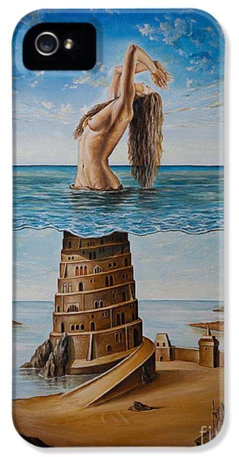 Surrealism IPhone 5 Case featuring the painting The New Babylon by Svetoslav Stoyanov