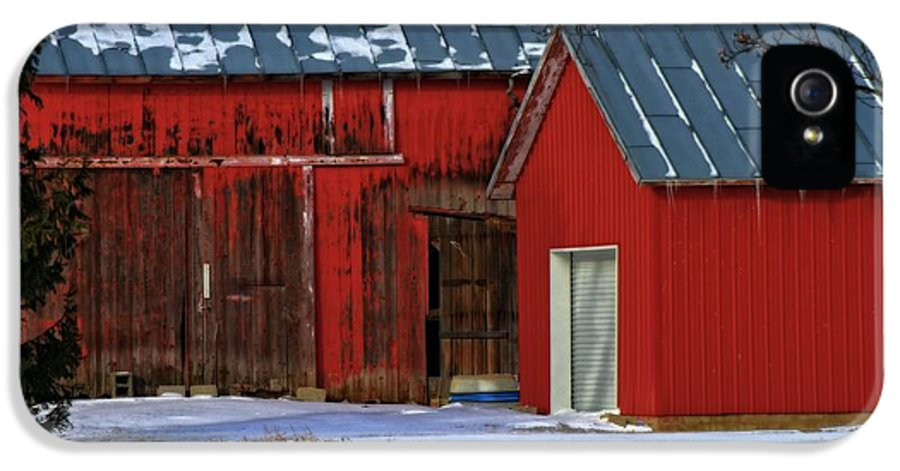 The Old Red Barn In Winter IPhone 5 Case featuring the photograph The Old Red Barn In Winter by Dan Sproul