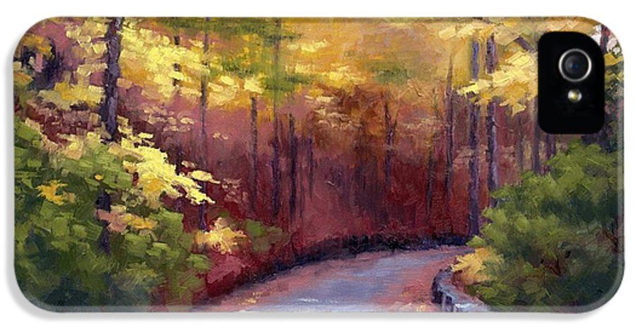 Autumn Paintings IPhone 5 Case featuring the painting The Old Roadway In Autumn II by Janet King