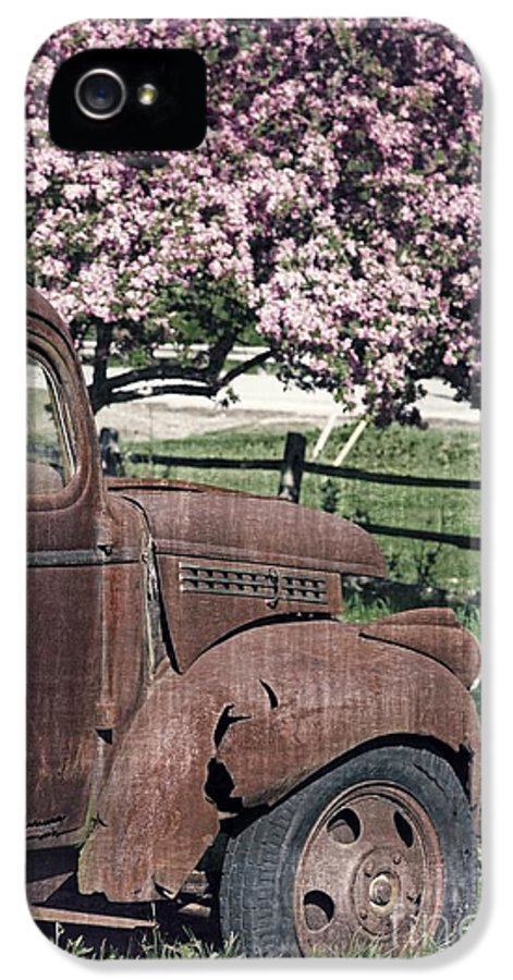 Quechee IPhone 5 Case featuring the photograph The Old Truck And The Crab Apple by Edward Fielding