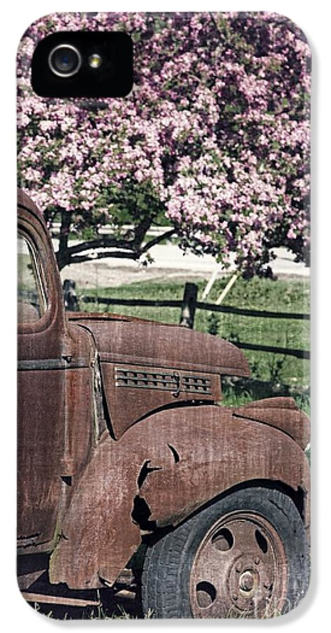 Quechee IPhone 5 / 5s Case featuring the photograph The Old Truck And The Crab Apple by Edward Fielding