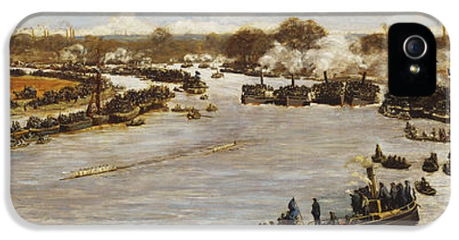 1880; 1880s; 1870s; 1879; 19th Century; 19th Century Painting; Artist British; Artist European; Artwork; Barge; Barges; Boat Race; British Artist; British & Irish Art; British Art; Crowd; Day; Daytime; Elevated; Elevated View; European Artist; Fine Art; Grandstand; Group; Human; Human Role; James Macbeth; Late 19th Century; Late Nineteenth Century; Large Group Of People; Large Group; Leisure & Pastimes; Looking; Macbeth; Meeting; Natural Space; Natural Phenomena; Nineteenth Century; Oil; IPhone 5 Case featuring the painting The Oxford And Cambridge Boat Race by James Macbeth