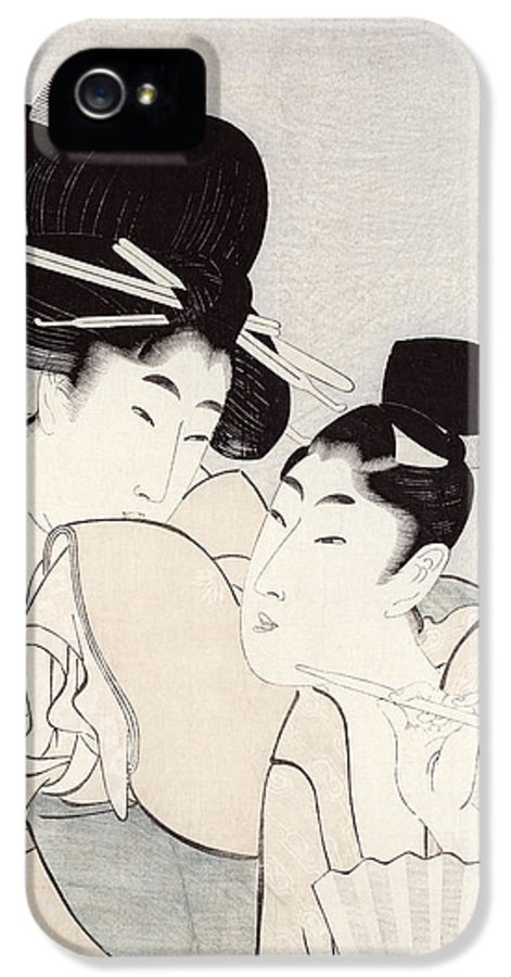 Female IPhone 5 Case featuring the painting The Pleasure Of Conversation by Kitagawa Utamaro
