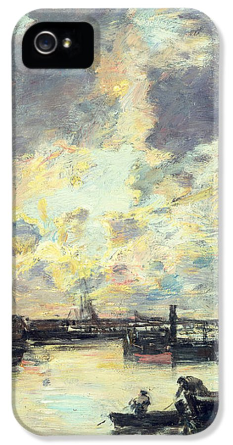 Boat IPhone 5 Case featuring the painting The Port by Eugene Louis Boudin
