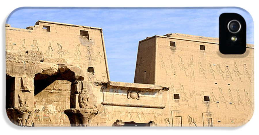 Temple IPhone 5 Case featuring the photograph The Pylons Of Edfu Temple by Brenda Kean
